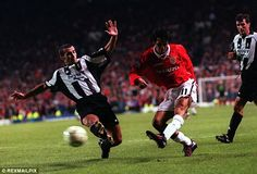 Giggs smashes an effort goalwards in the dying moments against Juventus in 1997