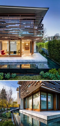 RUFproject have designed the renovation of the W38th Residence in Vancouver, Canada, that features exterior timber slats that wrap around the outside of the home. The timber slats provide shade and privacy to the large windows, and are mounted to a minimal steel frame that's suspended from the roof.