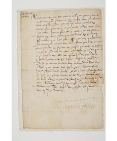 "DIANE DE Poitiers, Duchess of Valentinois (1499-1566) the favorite of Henry II. Autograph letter signed with compliment ""tinue antyere bone bone alye Dianne Poytiers"" Joinville April 4, Francoise to Humieres [1551?]; Beautiful and rare letter to the governess of the children of France. [Françoise Contay, who married in 1507 John Humieres, shared with him the direction and care of children in France.] This letter, which echoes the sounds of plague in Blois, shows the concern..."