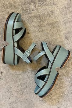 Wallace Rose imported Elvio Zannon 'Lagoon' sage leather with black leather piping, strappy sandal on a 40-70mm flatform sole. Hermes Oran, Strappy Sandals, Sage, Black Leather, Summer, Collection, Summer Time, Salvia