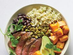 A little meat travels far since there's no center stage in a bowl. Here, a few ounces of Peruvian steak works wonders on top.Season well, and shred or finely chop to get a little in each bite. View Recipe: Peruvian Steak and Roasted Sweet Potato Bowl