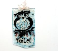 Toilet door Signs Fused glass art gift ideahome by virtulyglass
