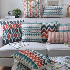 Wholesales Linen Pillow Cover Aztez IndianCushion Cover Nordico Geometric Style Home Decorative Pillow Case 45x45cm/30x50cm