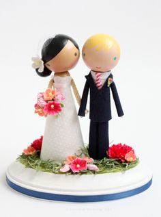 "Cake Topper.  ""Where were these adorable (customizable) toppers when I got married?! Oh yeah, no Etsy.com back then."""