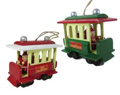 Red or Green San Francisco Wooden Cable Car Santa by WhatnotGems