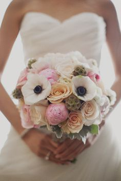 anemonies, roses, scabiosa pods, peonies.