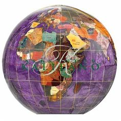 The Amethyst Gemstone Globe 4-inch Paperweight is a great choice for a decorative paperweight globe. Manufactured with some of the best quality semi-precious gemstones you will not be disappointed by the layout and presentation of this design. #desktopglobes#floorstandingglobes #rotatingglobes #papwerweightglobes #Kalifanobookendglobes #gemstoneglobes #worldglobes