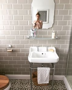 Victorian plumbing. Grey metro tiles. Bathroom. Dunelm mirror. Bathrooms. Bathroom makeover.