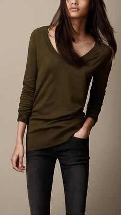 Check Cuff Cotton Cashmere Sweater   Burberry