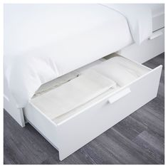 BRIMNES Bed frame with storage & headboard, white, Luröy, Queen. A bed frame with hidden storage in several places – perfect if you live in a small space. The BRIMNES series has several smart solutions that help you save space. Extra Storage Space, Hidden Storage, Storage Spaces, Storage Organization, Ikea Storage, Bed Frame With Storage, Diy Bed Frame, Bed Frames, Adjustable Beds