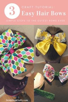 New diy gifts for girls toddler how to make ideas Easy Hair Bows, Making Hair Bows, Girl Hair Bows, Girls Bows, Bow Making, Diy Bow, Diy Ribbon, Fabric Ribbon, Crafts For Girls