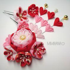 #42# ピンク×赤 つまみ細工髪飾り。+☆七五三、成人式の着物ヘアに(*ˊᵕˋ*)੭ ੈ