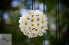 hanging flower balls ceiling decorations | white daisy wedding flower hanging ball decor. | White Daisy Wedding