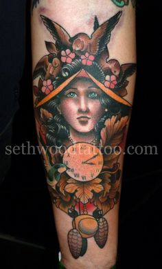 tattoosforpassionnotfashion:    done by seth wood    Most kick ass coo coo clock inspired tattoo I've ever seen.