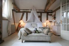Bedroom inside a converted barn, Miramont, France