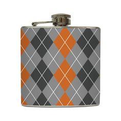 Burnt Orange & Gray Argyle Whiskey Flask