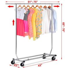 Metal Heavy Duty Rack Garment Clothes Rail Home Shop Hanging Display Stand for sale online Rolling Clothes Rack, Rolling Rack, Retail Clothing Racks, Heavy Duty Racking, Garment Racks, Plastic Caps, Hanging Rail, Closet Storage, Home Organization