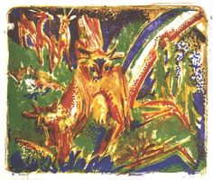Cattles under a Rainbow by @artistkirchner #expressionism