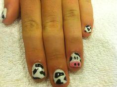 Gel polish, nails, nail art, cow print, animal print, fun nails, black, white