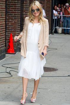 White midi dress paired with a pastel blazer/jacket - Check!