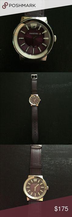 Swarovski watch Purple genuine leather no scratches Swarovski Accessories Watches