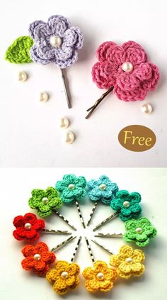 Spring Flower Hair Clips – Free Crochet Pattern What a wonderful flower free crochet pattern! It is easy but creates such a neat flower. You can use this to make a brooch, hair-tie, and others. Crochet Hair Clips, Crochet Flower Headbands, Crochet Flower Tutorial, Crochet Flower Patterns, Crochet Hair Styles, Crochet Flowers, Pattern Flower, Beau Crochet, Crochet Bows