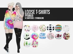 Loose T-shirts;As my first cc I decided to recolor one of my favourite top meshes! //original mesh by younzoey / female swatch by dani-paradise / standalone // I hope you will enjoy them! Please tag...