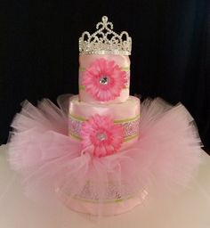 tutus and tiaras baby shower   Tutu Diaper Cake Pink Green Rose Princess Baby Girl by mamabijou