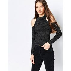 QED London Knitted Cold Shoulder Glitter Top (210 NOK) ❤ liked on Polyvore featuring tops, black, round neck top, ribbed top, open shoulder top, metallic top and cut shoulder tops