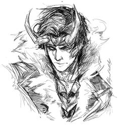 "abz-j-harding: "" well i guess it's been a while since I drew Loki….Thought well….Why not…he's awesome because your worth it *angry face* """