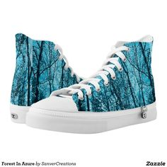 Forest In Azure Printed Shoes