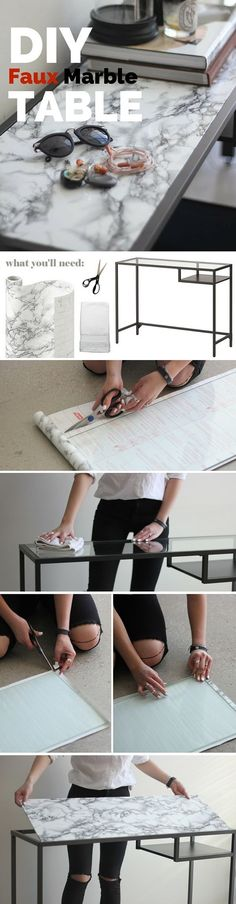 Cool Check out the tutorial: #DIY Faux Marble Table