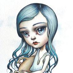 Aquarius  Zodiac fille signé lowbrow pop surréalisme par mabgraves