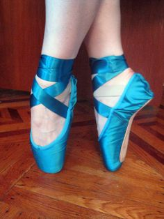https://flic.kr/p/8uQuFk | My brand-new custom pointe shoes | Note about the photo: I took this photo while also appearing in the photo; i.e. by bending over forward with the camera.  I'm so proud.  Made by the fine people at Capezio, using silk satin from Mood Fabrics (provided by myself).  The ribbons are from M&J.  I just finished sewing on the ribbons and elastics!✯ Ballet beautie, sur les pointes ! ✯