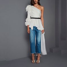 Shop Malina One Shoulder Poplin Top. This **Johanna Ortiz** top features a one shoulder neckline and a contrast cinched waist. Parisian Chic Style, Poplin, Casual Wear, Ready To Wear, Ideias Fashion, One Shoulder, Style Inspiration, Elegant, Outfits