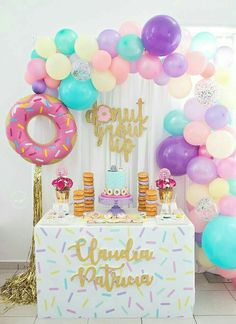 Donut Party Decorations-Parties are of interchange types and due to their diversified nature, alternative types of decorations are required. 2nd Birthday Party Themes, Donut Birthday Parties, Girl 2nd Birthday, Birthday Party Decorations, Cake Birthday, Girl Theme Party, 1st Birthday Party Ideas For Girls, Colorful Birthday Party, Birthday Signs