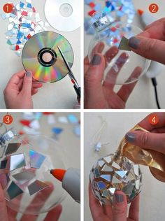 25 Genius Craft Ideas | Sparkle ornament made from CDs.