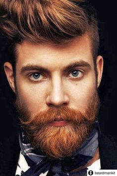 Top 10 Haircuts For Men 2019 & Products You Need Top 10 Haircuts, Haircuts For Men, Handlebar Mustache, Beard No Mustache, Beard And Mustache Styles, Red Beard, Ginger Beard, Ginger Men, Beard Styles For Men