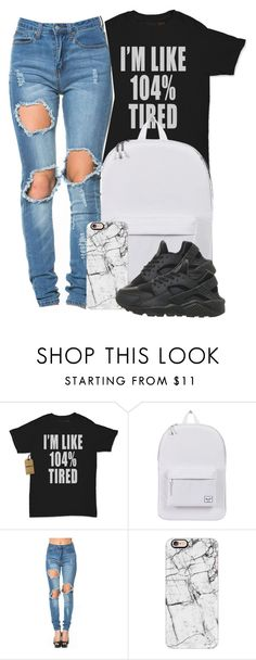 """""""all the time"""" by yeauxbriana ❤ liked on Polyvore featuring Herschel Supply Co., Casetify and NIKE"""
