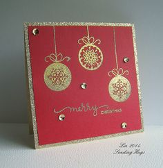 handmade Christmas card from Lin at Sending Hugs ... red and metallic gold ... clean and elegant design ... three gorgeous baubles gold embossed ... gold glimmer paper mat ....