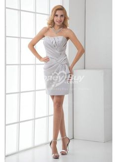 Fits Perfectly Strapless Ruched Short Silver Wedding Party Dress