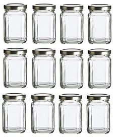 Nakpunar 12 pcs, 6 oz Square Glass Jars with Gold Lids fo...