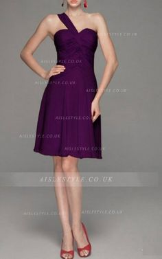 One Shoulder A-line Knee-length Chiffon None Bridesmaid Dresses