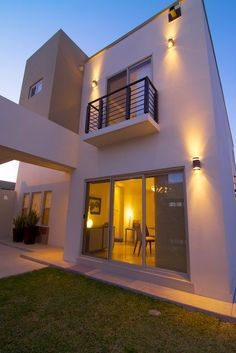 Dream house plans, my dream home, balcony grill, minimalist architecture, h House Front Design, Modern House Design, Style At Home, Dream House Plans, My Dream Home, Exterior Lighting, Outdoor Lighting, Balcony Grill, Minimalist Architecture