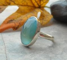 Aqua blue chalcedony ring Oval gemstone ring by Studio1980 on Etsy