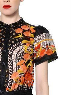 temperley london - donna - abiti - abito in raso di seta stampa pizzo floreale