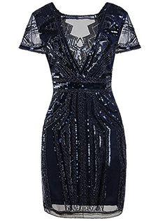 Vijiv 1920s Short Prom Dresses V Neck Inspired Sequins Cocktail Flapper Dress * For more information, visit image link.