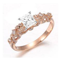 rose engagement ring | ... Rings > Beautiful 1 Carat Princess Diamond Engagement Ring on 18k Rose
