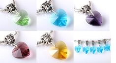 Glass Heart European Slide Charms Choice of Color each