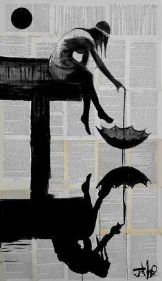"""from moments like these"" - Loui Jover - Saatchi Art Artist Arte Black, Newspaper Art, Umbrella Art, Art Et Illustration, Silhouette Art, Art Graphique, Collage Art, Amazing Art, Book Art"